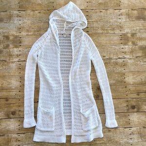Valerie Bertinelli Long Crochet Hooded Cardigan